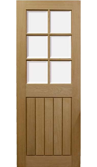 Mexicano Half Glazed Veneer Oak Door  sc 1 st  UK Oak Doors & Half Glazed Veneer Oak Door