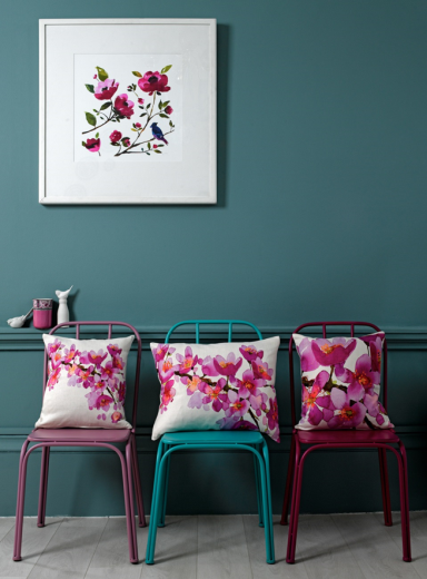 Bluebellgrey floral cushions and artwork